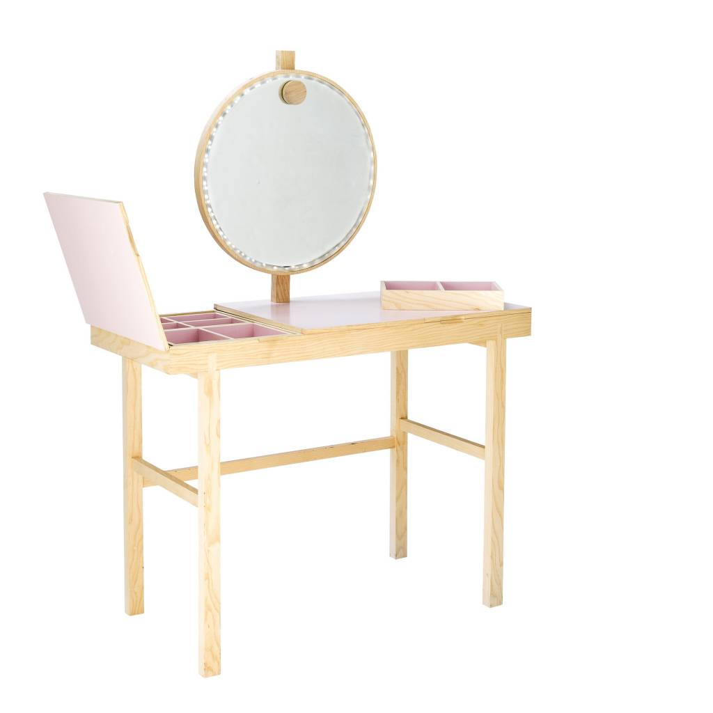 Bloomingville make up tafel met licht roze naturel hout   living ...