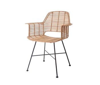 HK-Living Rotan chair with armrest natural