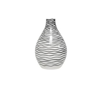 HK-Living Vase ceramic striped black