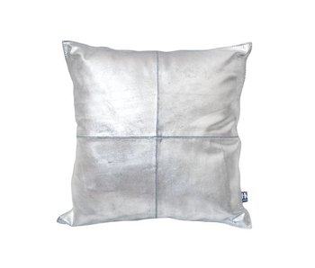 HK-Living Cushion rustic leather silver