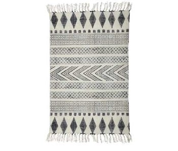 House Doctor Block tæppe bomuld hvid grå 90x200