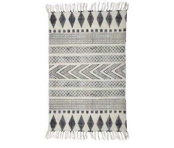 House Doctor Block-Teppich aus Baumwolle weiß grau 90x200