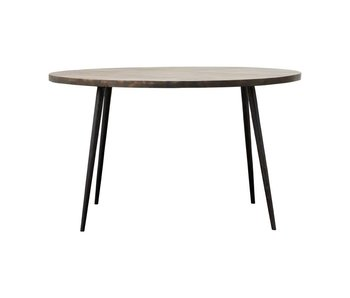House Doctor Club round dining table black wood iron