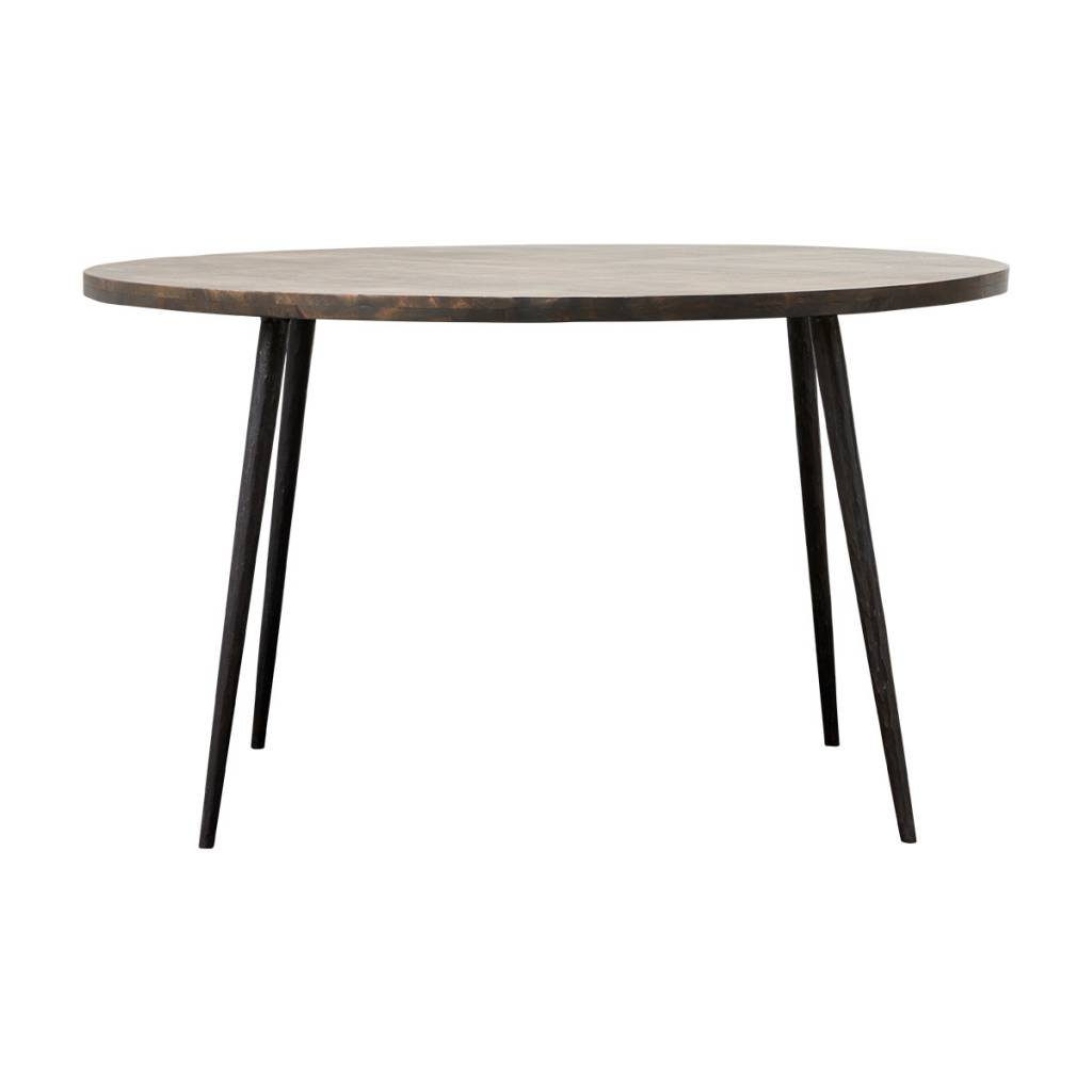 House Doctor Club round dining table black wood iron LIVING AND CO