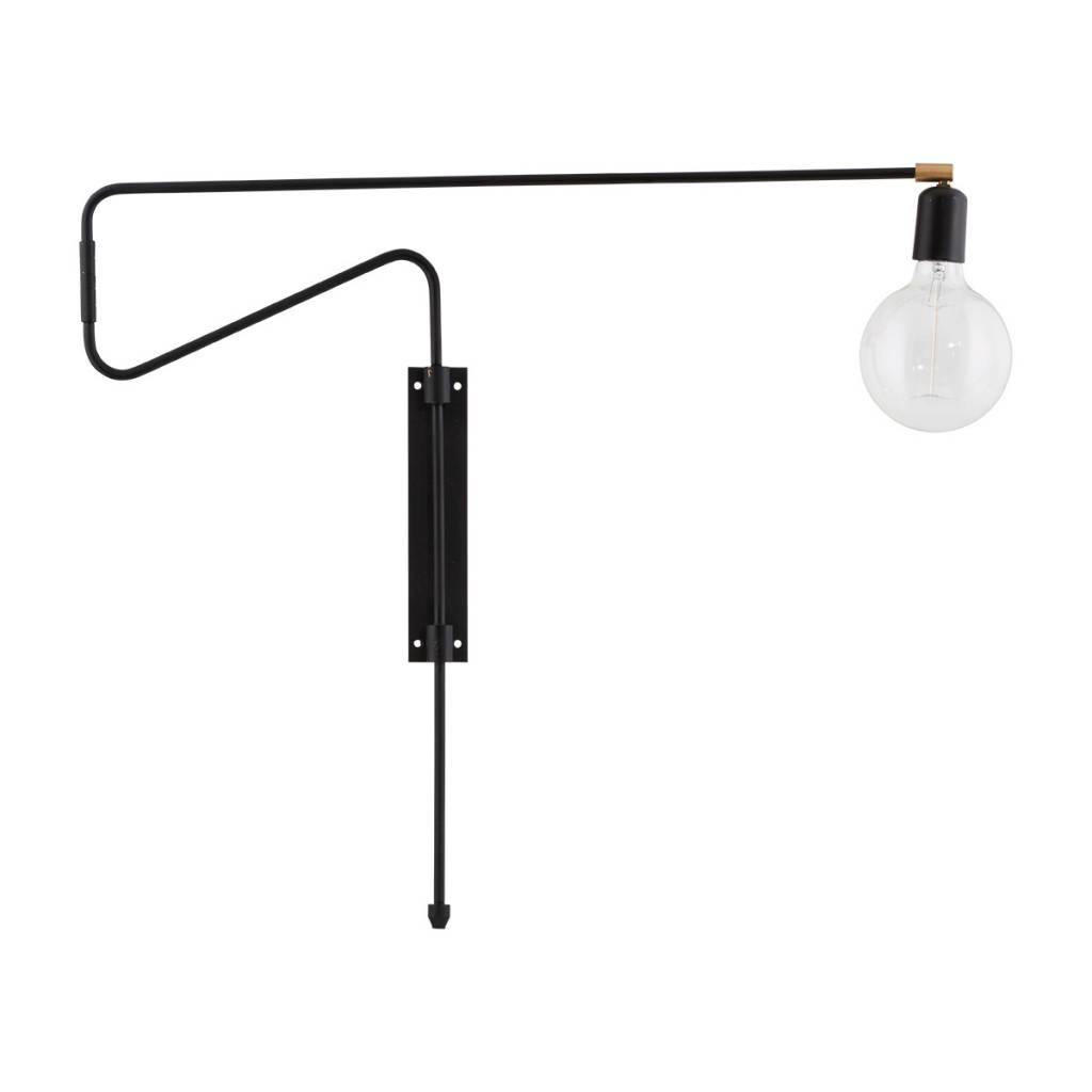house doctor swing wall lamp black metal brass adjustable living and co. Black Bedroom Furniture Sets. Home Design Ideas