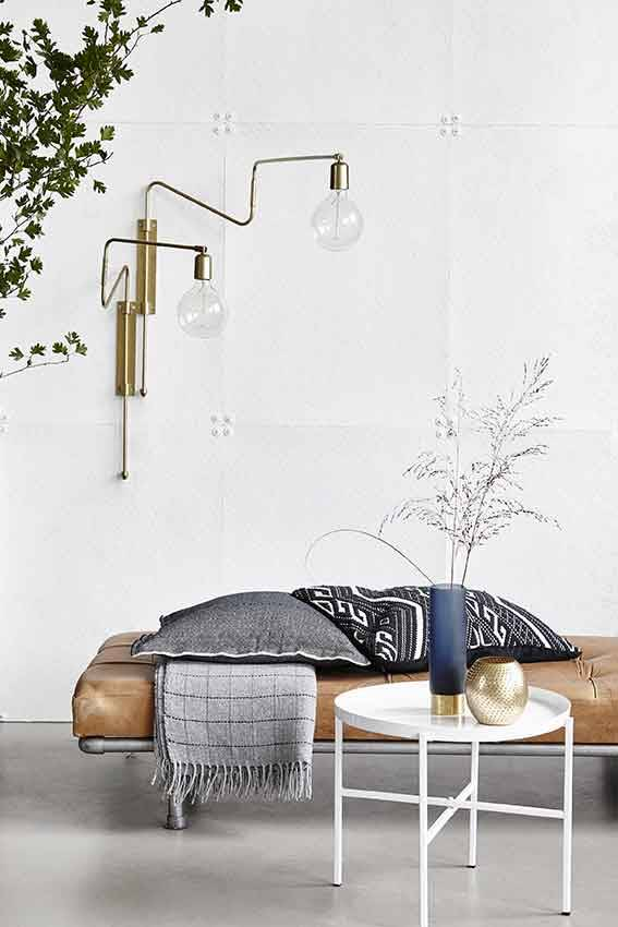 house doctor swing wall lamp brass iron living and co. Black Bedroom Furniture Sets. Home Design Ideas