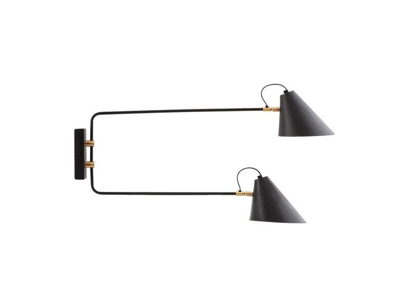 House Doctor Club wandlamp zwart metaal messing verstelbaar