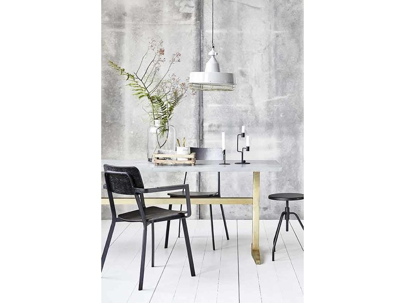 House Doctor Zinc Table Galvanized Steel LIVING AND CO - Zinc dining room table