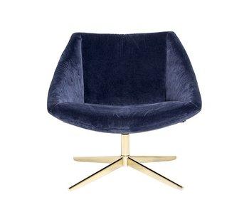 Bloomingville fauteuil de velours bleu élégant
