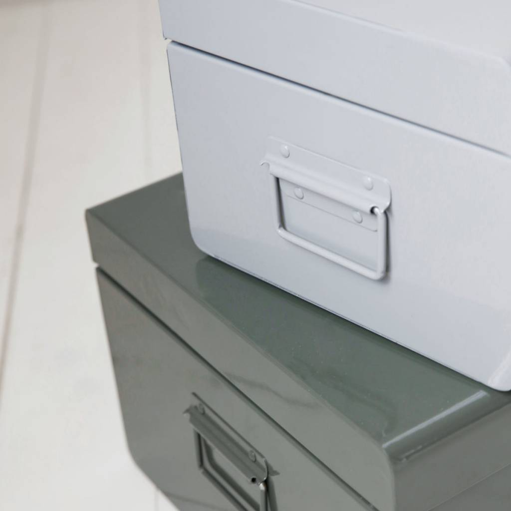 House Doctor Storage Box Set Of 2 Grey Green Metal Living And Co