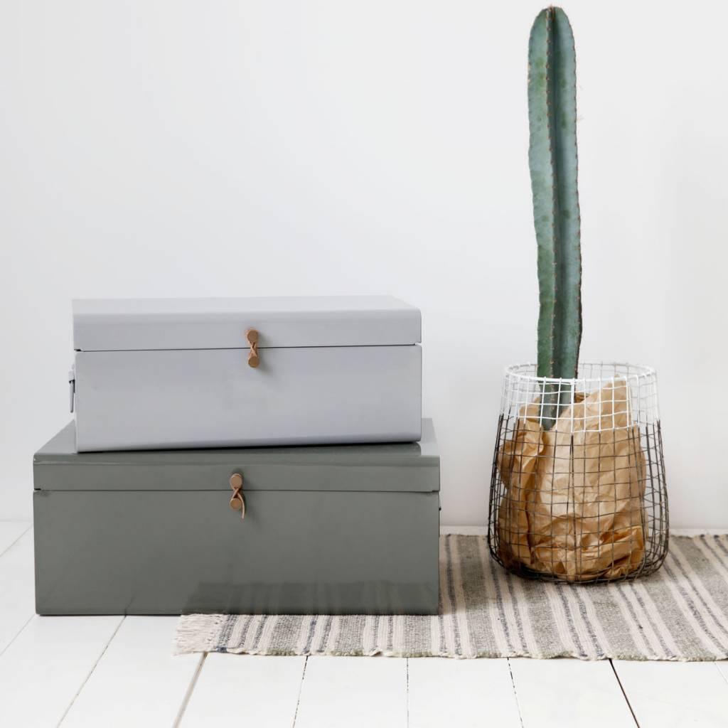 house doctor storage box set of 2 grey green metal. Black Bedroom Furniture Sets. Home Design Ideas