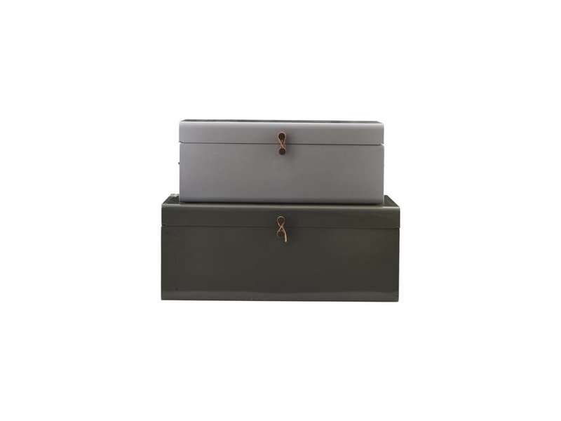house doctor storage box set of 2 grey green metal living and co. Black Bedroom Furniture Sets. Home Design Ideas