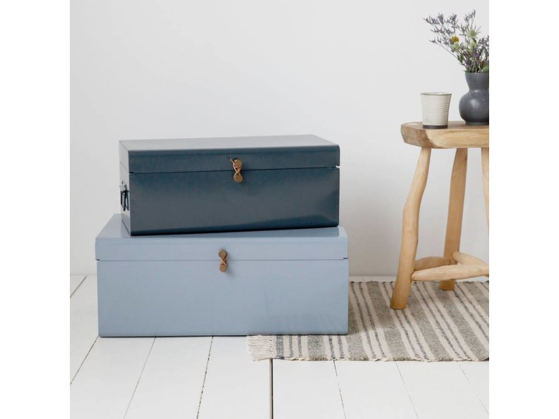 house doctor storage box set of 2 blue green metal. Black Bedroom Furniture Sets. Home Design Ideas