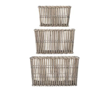 House Doctor Litter baskets set of 3 square cane