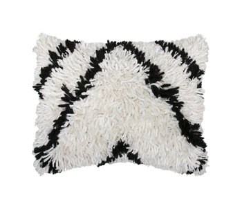HK-Living Pillow plush black / white wool