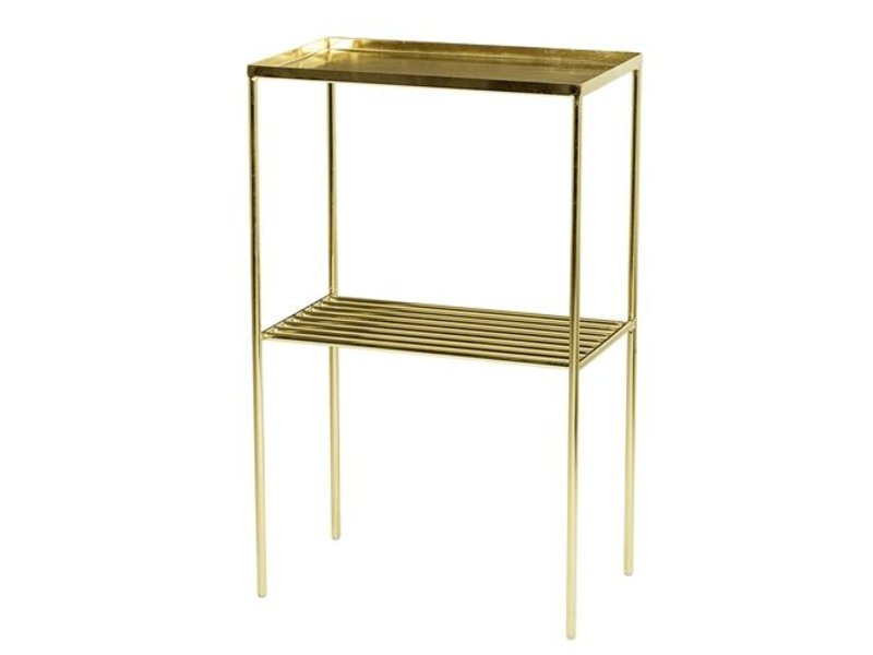Bloomingville grid sidetable metal gold look living and co - Mesa auxiliar metalica ...