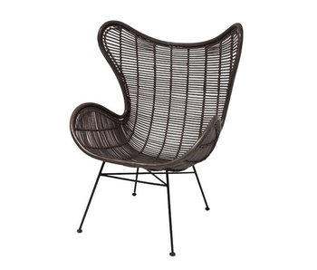 HK-Living Rattan chair egg chair coffee brown