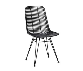 Hubsch Studio de chaise en rotin noir
