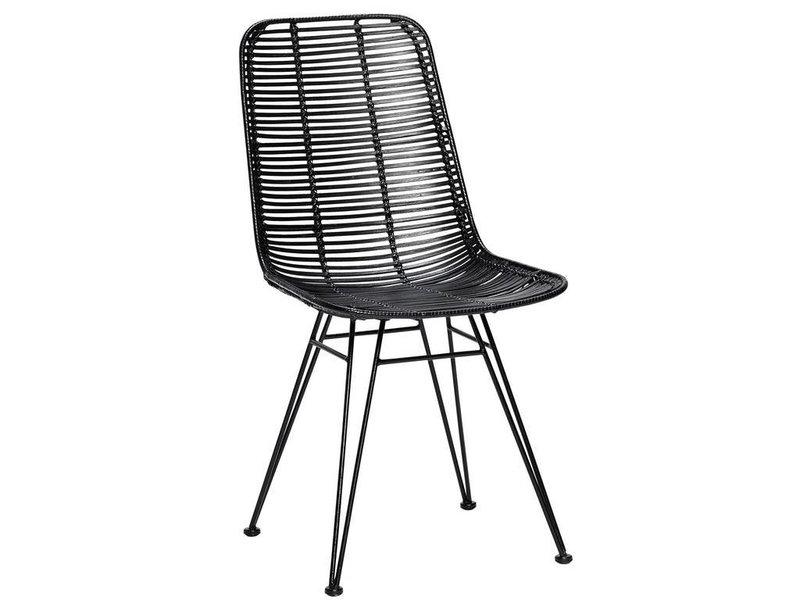 H bsch studio rotan stoel zwart metaal living and co for Rotan eettafel stoel