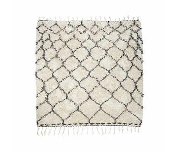 House Doctor Zena alfombra 180x180 cm de algodón blanco y negro