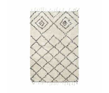 House Doctor Kuba Teppich 140x200 cm Baumwolle weiß und schwarz