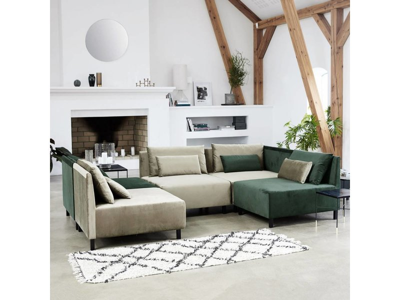 House Doctor Zena vloerkleed 90x200 cm katoen wit en zwart