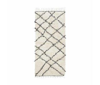 House Doctor Riba Teppich 90x200 cm schwarz und weiß Baumwolle