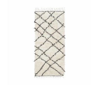 House Doctor Zena rug 90x200 cm cotton white and black