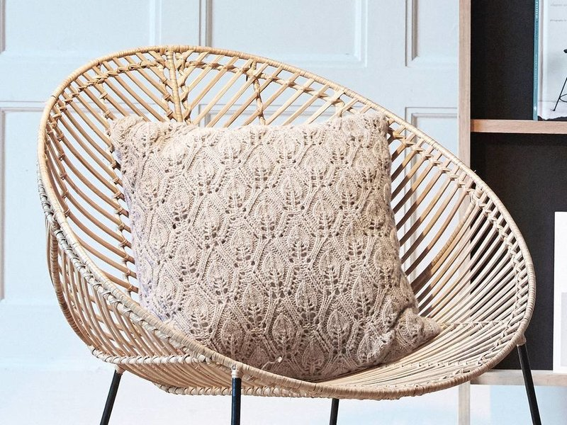Rattan lounge  Hübsch Rattan lounge chair with armrest metal nature - LIVING AND CO.