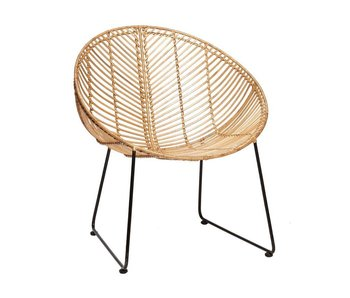Hubsch Rattan lounge chair with armrest natural