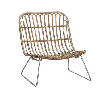 Hubsch chaise longue en rotin naturel