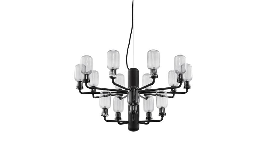 normann copenhagen amp chandelier small lamp black living and co. Black Bedroom Furniture Sets. Home Design Ideas