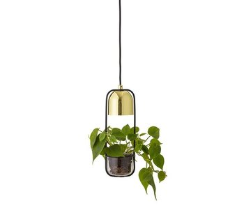 Bloomingville Hanging lamp gold look LED glass