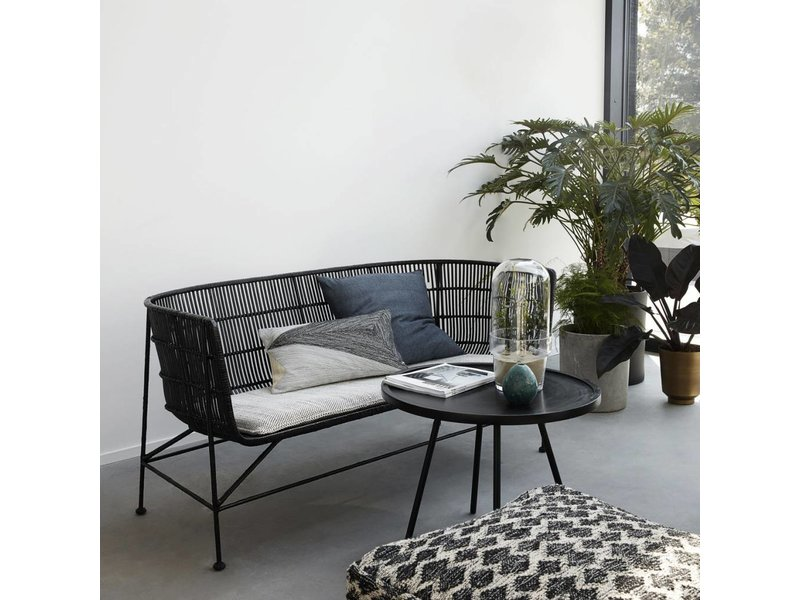 house doctor coon rattan bench black living and co. Black Bedroom Furniture Sets. Home Design Ideas