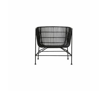 House Doctor Coon rotin Chaise longue noire