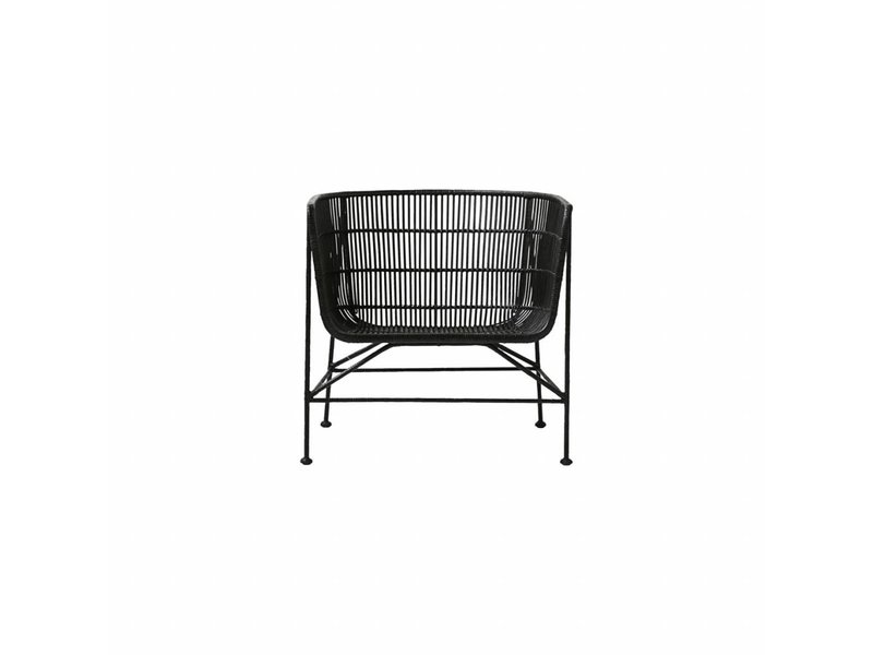 House Doctor Coon Rattan Lounge Chair Black Living And Co