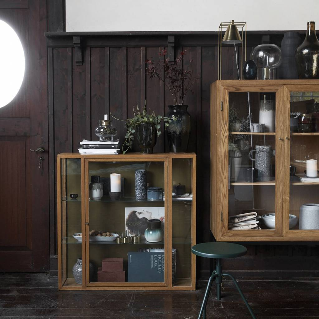 house doctor cabinet oak wood with two glass shelves living and co. Black Bedroom Furniture Sets. Home Design Ideas