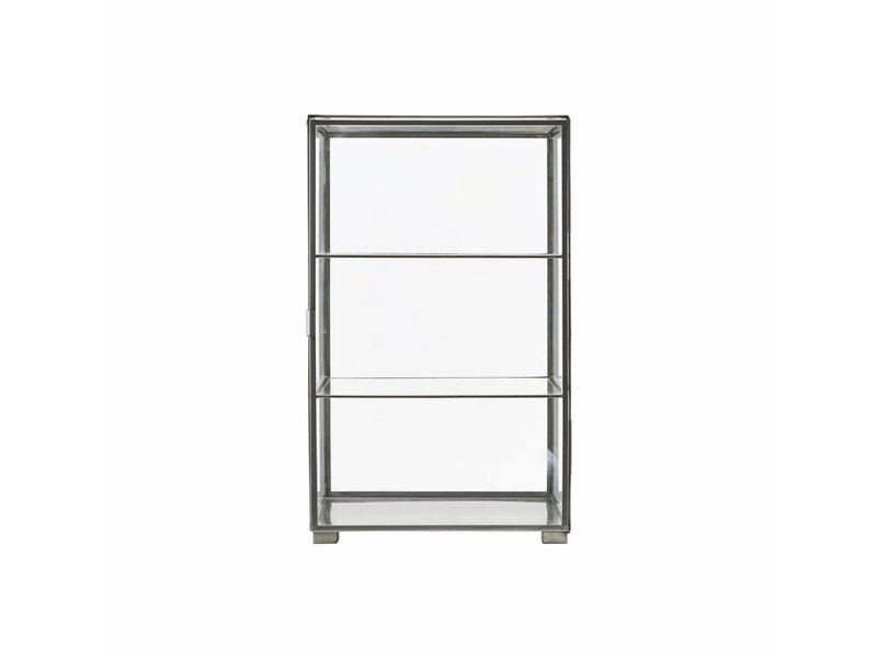 House Doctor Cabinet zinc with two glass shelves