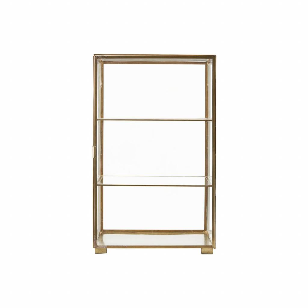 ... House Doctor Cabinet Brass With Two Glass Shelves