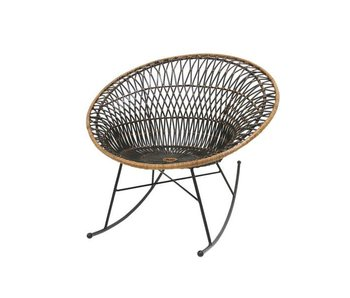 HK-Living Rattan rocking chair brown