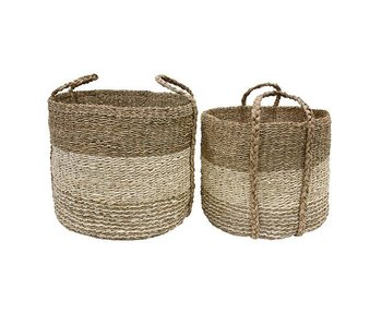 HK-Living Basket braided seagrass set of 2