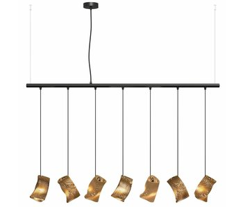 Graypants Moa Linear7 hanging lamp brown Ø15x126cm