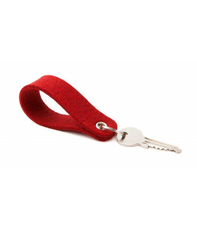 Schlüsselanhänger Kirschrot rund