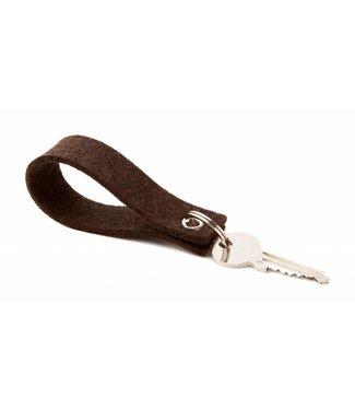 Schlüsselanhänger Trüffelbraun eckig