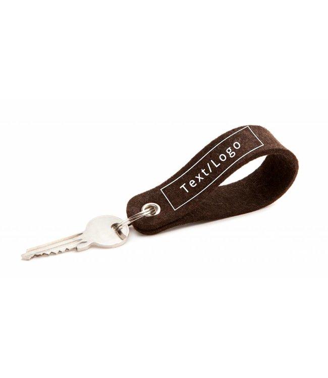 Individual Keychain Truffle-Brown Round