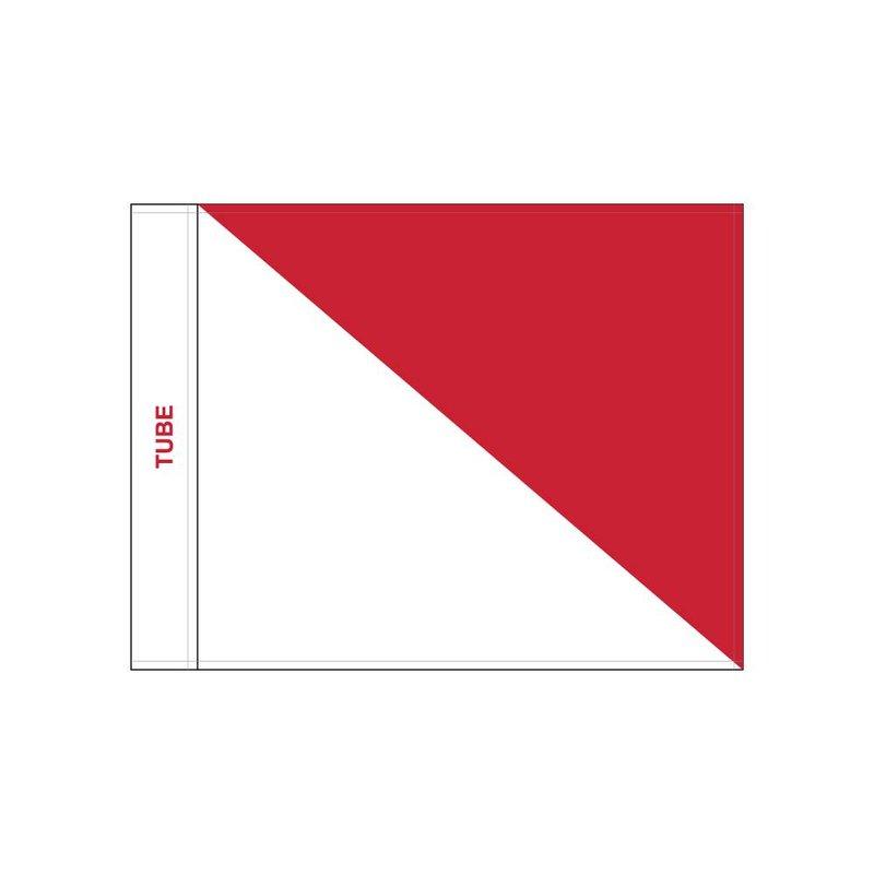 Golf flag, semaphore, white - red