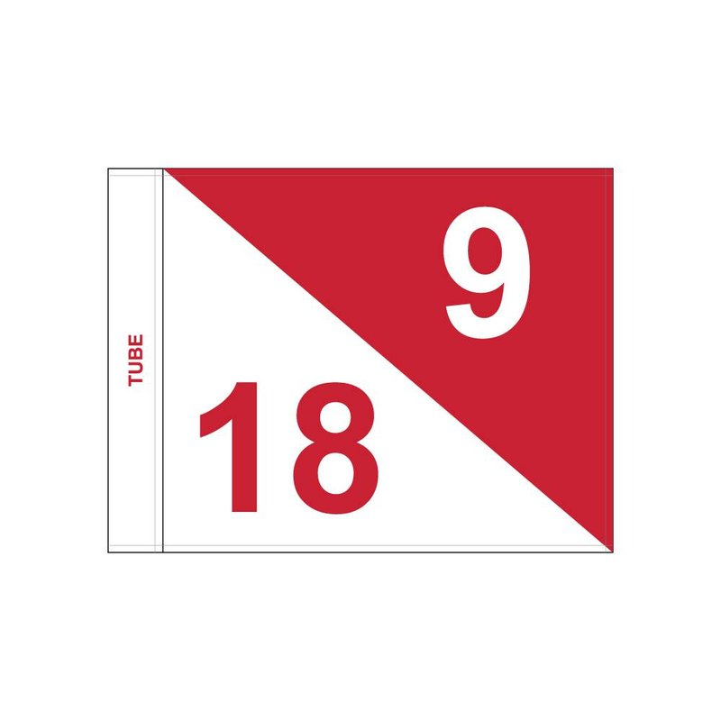 Golf flag, semaphore, numbered, white - red