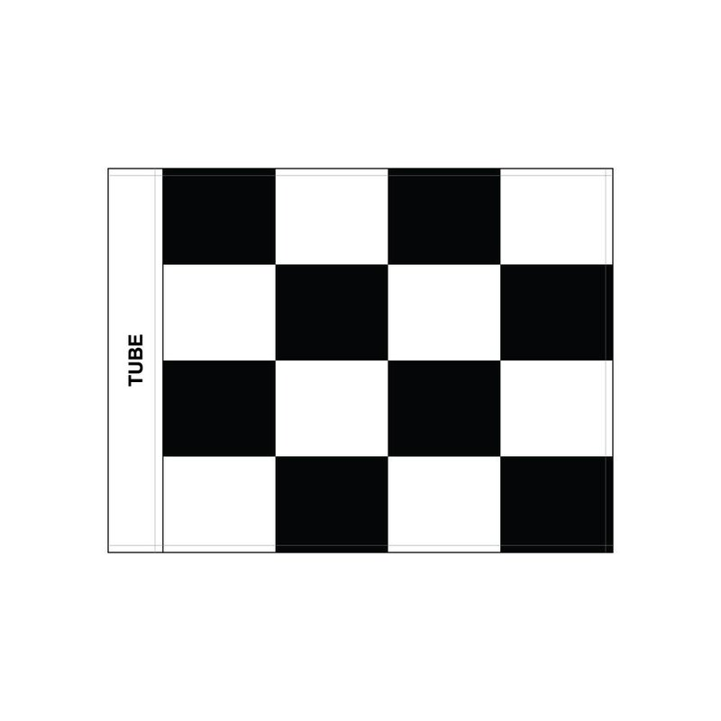 Golf flag, checkered, white - black