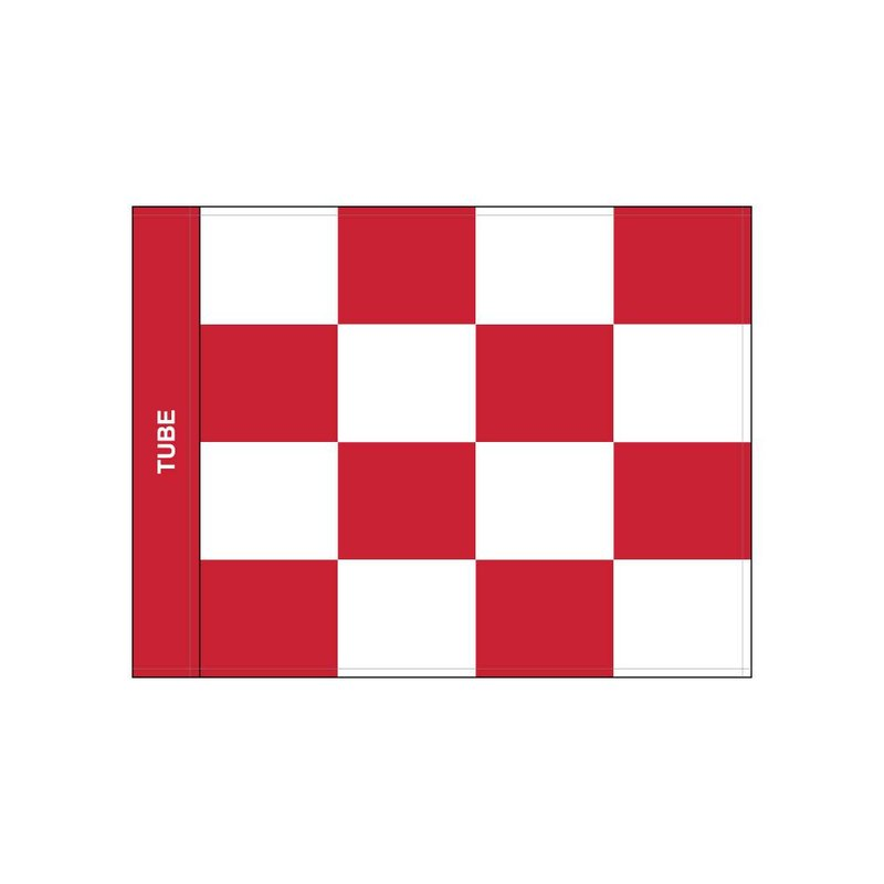 Golfvlag, checkered, wit - rood