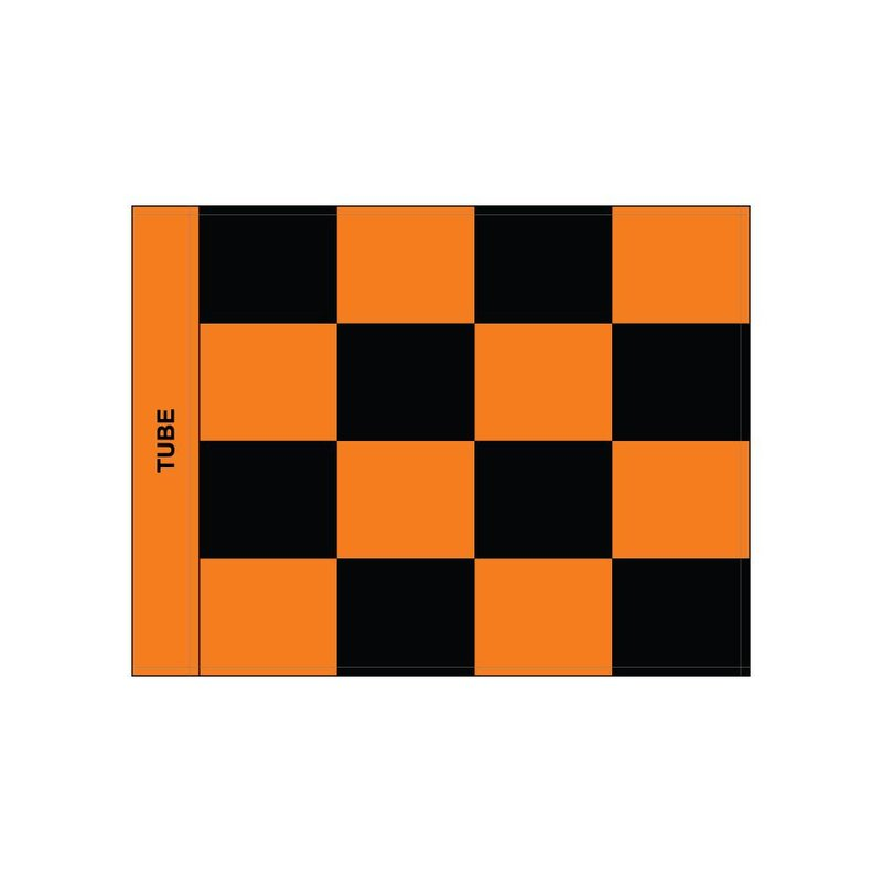 Golfvlag, checkered, zwart - oranje